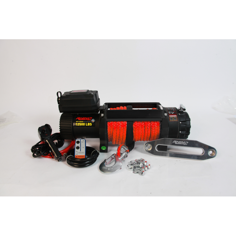 Rhino 4x4 12,500lbs Winch With Dyneema Rope