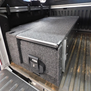 Not all of our customers want a Handcrafted Perfection series Drawer from us, some just want something a little more simple. This single  drawer system by 4wd Interiors is clean and simple for this VW Amarok.   4WD Interiors #getfitted #fitmy4wd