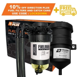 For the next 100 customers were offering 10% off and FREE SHIPPING on the newly listed Direction Plus Provent Kits and Fuel Manager Filter Kits.  Use the code : LOCKDOWN   https://www.fitmy4wd.com.au/370-fuel-pre-filter-kit  Be quick as these won't last at the discounted price.   1. Available to the first 50 customers 2. Free shipping only applies to Fuel Filters and Catch Cans 3. If extra items are added to the shopping cart, free shipping will not apply to other products 4. Must use code in shopping cart for discount to apply.  5. Discounted Price will be displayed in the shopping cart