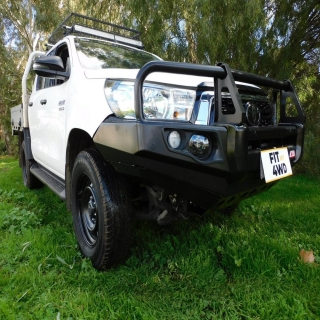This hilux wanted protection and style. So look no further as we have fitted the MCC Falcon Black A Frame Bullbar  MCC 4x4 Accessories #fitmy4wd #getfitted