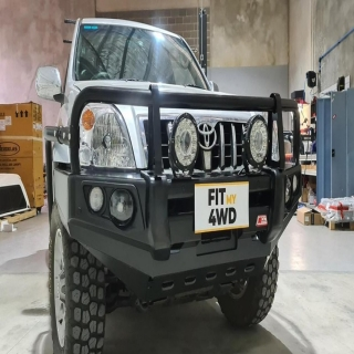 Even some of the older girls need some love from time to time. This Prado 120 had fitted a MCC Falcon Black A Frame Bullbar with MCC Side Steps and Rails   MCC 4x4 Accessories #getfitted #fitmy4wd