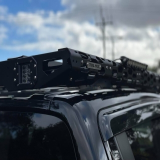 Trailmax Roof Rack has to be the toughest looking roof rack platform to date. This MR Triton received one and a bunch of lights as he is obviously scared of the dark 😱 😱   TrailMax STEDI #fitmy4wd #getfitted